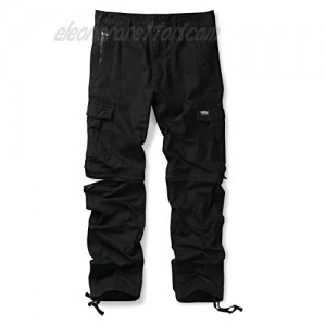 Men's Convertible Pants Zip Off Casual Cargo Military Army Tactical Combat Work Trousers Black 32