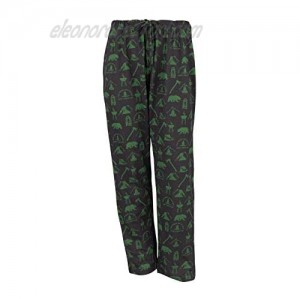 Shikaar - Adult Lounge Pants in Camping Graphic Print (Black/Green Adult - Large)