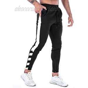 BUXKR Men's Casual Joggers Pants,Slim Fit Athletic Sweatpants for Gym Workout Athletic with Zipper Ankle Cuffs