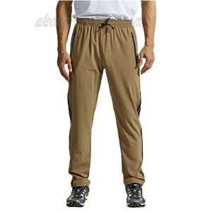 TBMPOY Men's Outdoor Hiking Pants Quick Dry Lightweight Wind Sun Protection Running Jogger Zipper Pockets