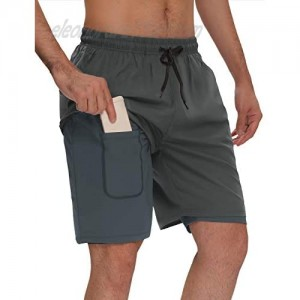 """Agnes Urban Men's 7"""" Shorts 2 in 1 Quick Dry Running Basketball Gym Athletic Workout Shorts with Phone Pockets"""
