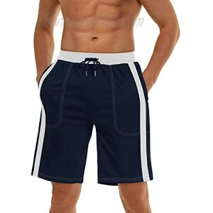 MAGNIVIT Men's Workout Running Shorts Quick Dry Lightweight Gym Mesh Shorts with Contrast Stripes