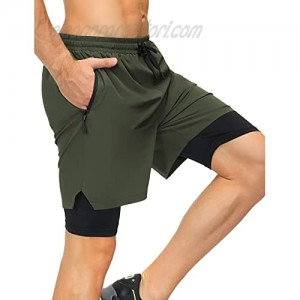 poriff Mens Running Shorts Workout Training Short 2 in 1 Compression Shorts with Phone Pocket Zipper Pockets Towel Loop