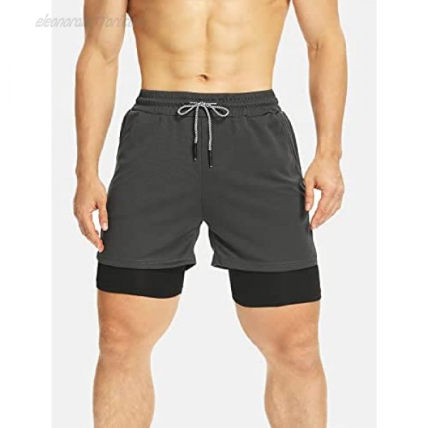 SEASUM Mens 2 in 1 Workout Shorts with Pockets Quick Dry Lightweight 7-Inch Athletic Running Shorts for Training