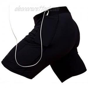 THE II BRO Compression Shorts with Pocket Keep Phone/Keys Tight with 2 Pockets