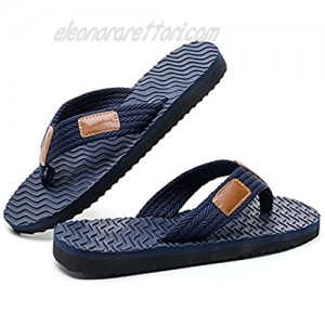 MOMON Men's Flip Flops Thong Sandals with Arch Support Lightweight Comfort Black/Blue for Outdoor Summer Beach Slippers Size 7-13
