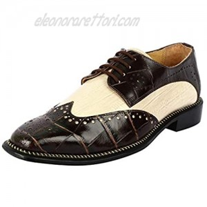 Liberty Footwear LIBERTYZENO Men's Wingtip Brogue Dress Shoes Leather Lace Up Formal Business Shoes