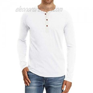 zhipengou Mens Casual Loose Long Sleeve T-Shirt New Solid Color Tunic Top