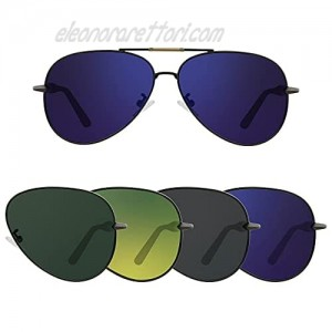 Polarized HD Aviator Sunglasses with Dark Grey Green Blue and Gradient Lenses
