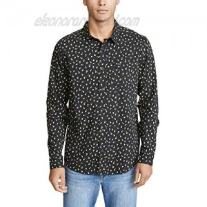 RVCA Men's Prelude Floral Long Sleeve Woven Button Front Shirt