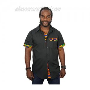 Zander5 Men's African Tribal Dashiki Graphic Patchwork Design Slim Fit Short Sleeve Buttoned Down Collar Casual Shirts
