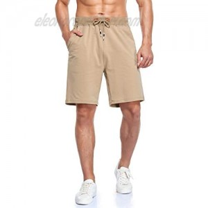 Immerguter Mens Shorts Adjustable Elastic Waist Casual Workout Shorts with Pockets