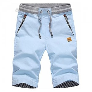 STICKON Men's Shorts Casual Classic Fit Drawstring Summer Beach Shorts with Elastic Waist and Pockets